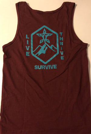 Live Thrive Survive Tank Top (Maroon)