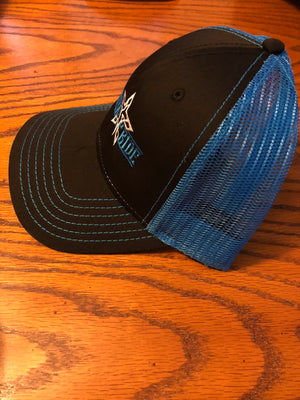S.P. Horizontal Stamp Trucker Hat (Black/Royal Blue/White)