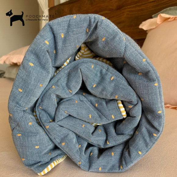 PM OAK Greyish Blue Yellow Dobby Blanket Large