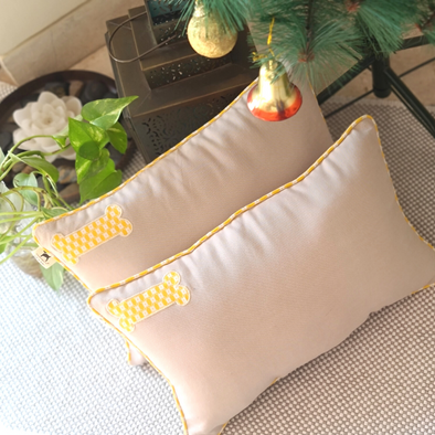 PoochMate Canary Yellow & Beige Dog Pillow