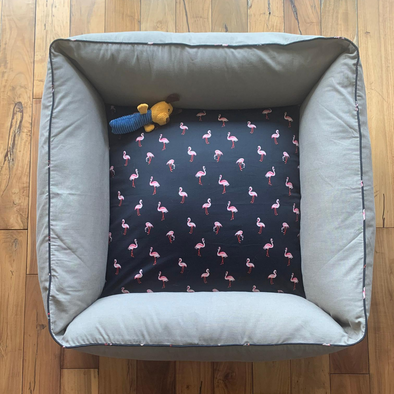 PM OAK Sawdust Flamingos Bolster Bed Medium