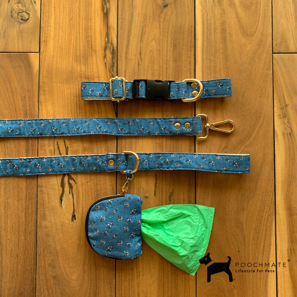PoochMate Blue Floral Dog Collar Set
