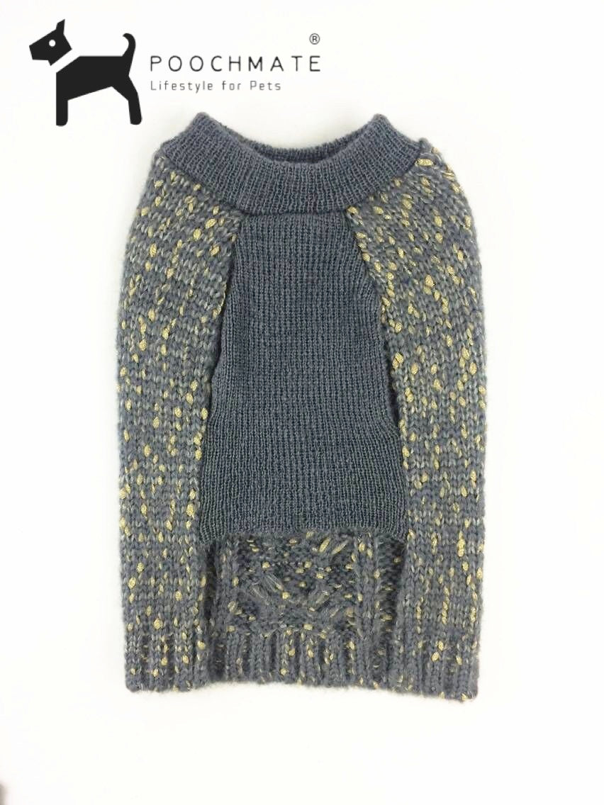 PoochMate Grey Cable Knit Jumper