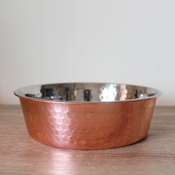 PoochMate Hammered Copper Dog Bowl - Flat