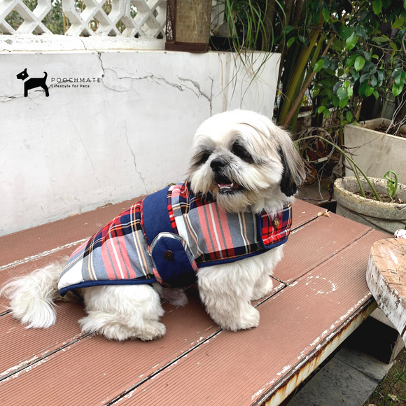 PoochMate Checkered Fleece Quilted Coat