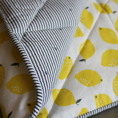 PM OAK Lemons & Striped Blanket Small