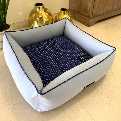 PoochMate Magnolia Blue Bolster Bed