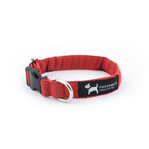 PoochMate Mandarin Collar - Red & Navy