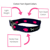 Navy Babe Cotton Webbing Collar