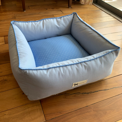 PM OAK Blue Polka Affair Bolster Bed Small