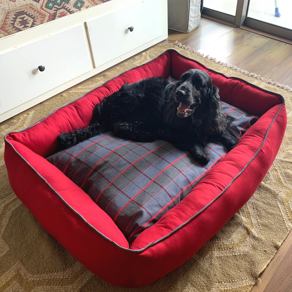 PoochMate Checkmate Bolster Bed - Red