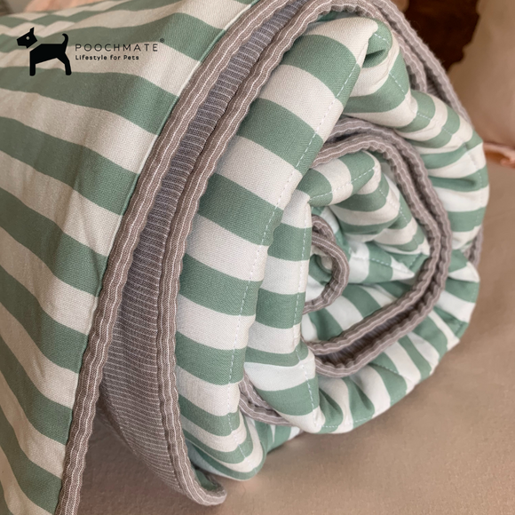PM OAK Sage Green Striped Blanket Large