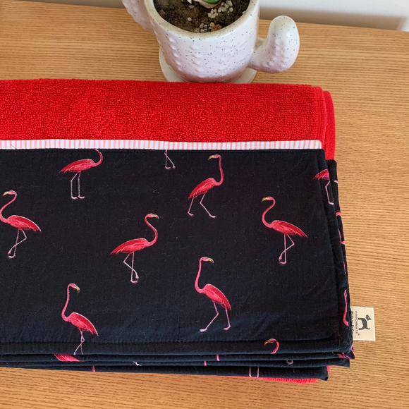 PoochMate OAK Doggie Towel - Red Flamingos