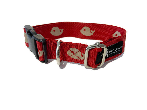 Red Whale Done Cotton Webbing Collar