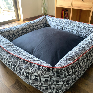 PM OAK Check-board & Charcoal Bolster Bed Large