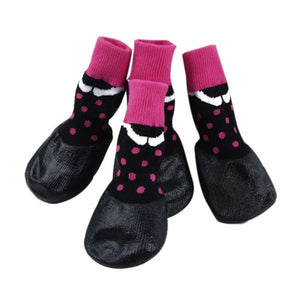 PoochMate Waterproof Socks - Black & Pink