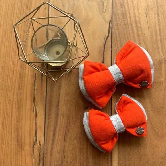 PoochMate Jersey Bow Slider - Orange & Ivory