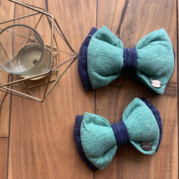 PoochMate Jersey Bow Slider - Teal & Navy