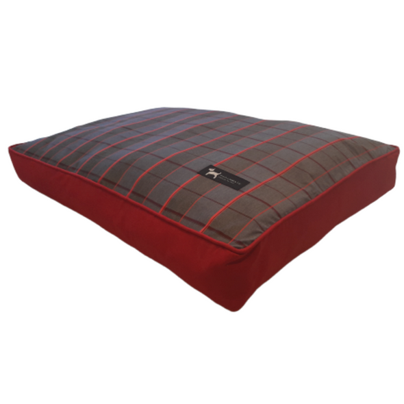 PoochMate Checkered Flat Dog Bed - Red