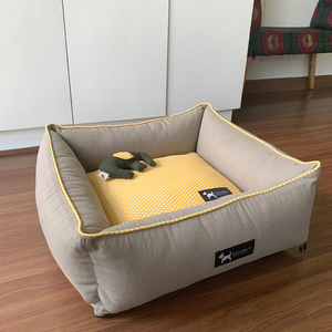 PoochMate Canary Yellow & Sawdust Bolster Bed
