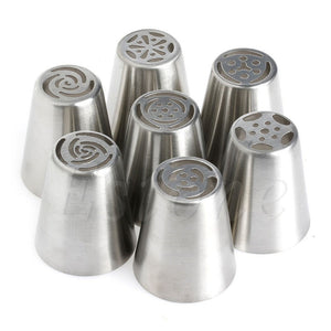 Decorative Flower Icing Piping Nozzle Set - 7 Pcs