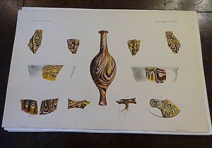 Antique Lithograph c 1903 Ancient Glass Archaeology XIII