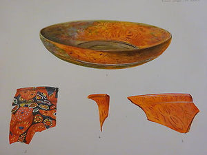 Antique Lithograph c 1903 Ancient Glass Archaeology VI