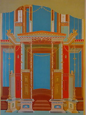 Antique Chromolithograph Folio Print Pompei Architecture X