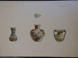 Antique Lithograph c 1903 Ancient Glass Archaeology VII