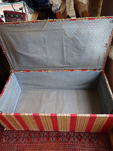 Antique Victorian Ottoman Blanket Chest Box Handwoven Textile Horsehair