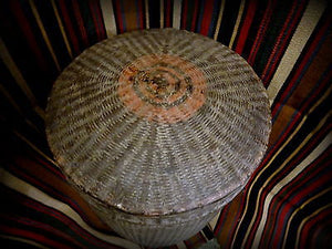 Antique 19th Century Burma Burmese Woven Rice Carrying Basket Lidded Container