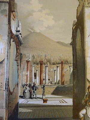 Antique Chromolithograph Folio Print Pompei Architecture VI
