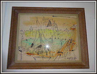 Superb Pen & Wash 1950s Drawing Honfleur Harbour France Rowley Gallery frame