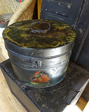A Victorian Painted Steel Hat Box
