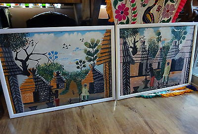 A Pair Of Folk Art African Tribal Paintings