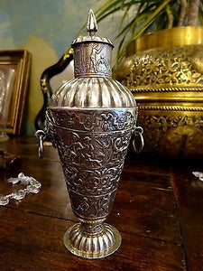 Antique Solid Silver Dutch Repousse Bottle Vase & Cover Container 1887 mark