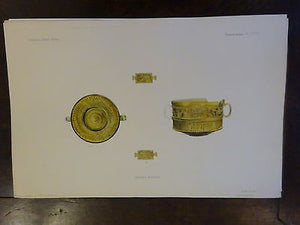 Antique Lithograph c 1903 Ancient Glass Archaeology VIII