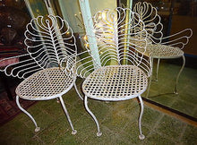 Early 20th Century Pair of Wrought Iron White Patio Armchairs