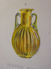 Antique Lithograph c 1903 Ancient Glass Archaeology IX
