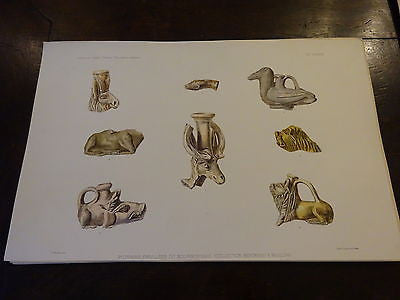 Antique Lithograph c 1903 Ancient Glass Archaeology X