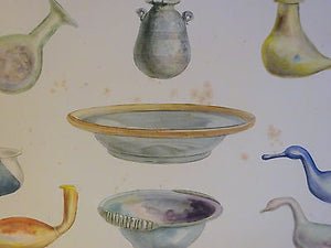 An Antique c 1903 Archaeology Hand Coloured Lithograph Ancient Glass Collection  I