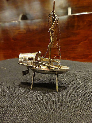 Antique/Vintage Chinese Silver Miniature Junk Complete