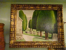 An Oil Painting on Board Churchyard with Cypresses & Tombstones