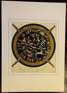 Antique Etching 1804 Dendera Temple Zodiac