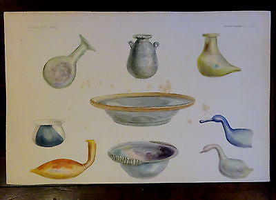An Antique c 1903 Archaeology Lithograph Ancient Glass Collection  I