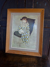 "Fabulous Vintage 1960s Framed Print on Board after Picasso ""Paul as Harlequin"""