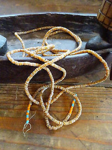 Authentic Vtg c1950s African Tribal Carved Shell Heishi Beads long Strand
