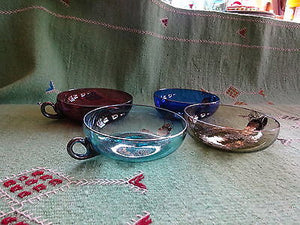 Antique Hand-blown Silver Overlay Coloured Glass Punch Cups