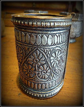 Vintage Ethnic Tribal Indian Silver Cuff made into Beaker Heart Designs