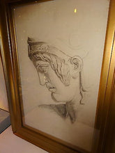 Antique 19th Century Drawing of A Classical Sculpture Young Male Head Study